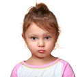 Cute thinking look kid girl isolated closeup portrait Stock Photos