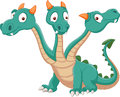 Cute three headed dragon cartoon Royalty Free Stock Photo