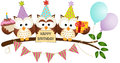 Cute three owls happy birthday scalable vectorial image representing a isolated on white Stock Photography
