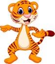 Cute tiger cartoon dancing