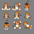 Cute Tiger Cartoon Set Royalty Free Stock Image
