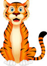 Cute tiger cartoon sitting illustration of Stock Photo