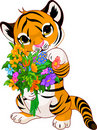 Cute tiger cub with flowers Stock Photos