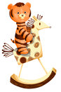 Cute tiger cub on hobby horse vector illustration character done in cartoon style on a white background isolated cut perfect for Stock Photography