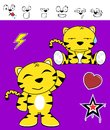 Cute tiger funny expressions cartoon set in vector format very easy to edit Royalty Free Stock Images