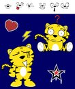 Cute tiger funny expressions cartoon set in vector format very easy to edit Stock Photography