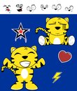 Cute tiger funny expressions cartoon set in vector format very easy to edit Stock Photo