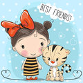 Cute Tiger and Girl