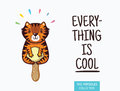 Cute tiger popsicle illustration. Vector ice cream Royalty Free Stock Photo