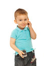 Cute toddler boy with phone Stock Images