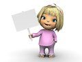 Cute toddler girl holding blank sign a wearing pink clothes smiling and a white background Stock Images