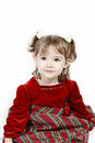 Cute toddler with red dress Royalty Free Stock Photo
