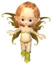 Cute Toon Auburn Hair Fairy Stock Image