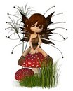 Cute Toon Autumn Fairy and Toadstool Stock Photos