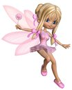 Cute toon ballerina fairy in pink jumping a tutu with gossamer wings and a wand d digitally rendered illustration Stock Images