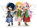 Cute toon fairy friends posing together on a white  background. Royalty Free Stock Photo