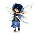 Cute toon fairy wearing blue flower dress with flowers in her hair posing on a white background
