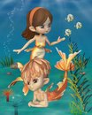 Cute toon goldfish merpeople scene style mermaid and merman with scales in an underwater d digitally rendered illustration Stock Photos