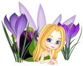 Cute toon purple crocus fairy lounging in leaf and petal dress lying between spring flowers d digitally rendered illustration Royalty Free Stock Photo