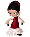 Cute toon spanish flamenco dancer with castanets and red dress d digitally rendered illustration Stock Photos