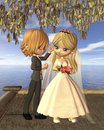 Cute Toon Wedding Couple on a Seaside Balcony Royalty Free Stock Photo