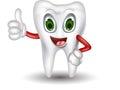 Cute tooth cartoon thumb up illustration of Royalty Free Stock Photos