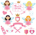 Cute tooth fairy vector illustration pink Royalty Free Stock Images