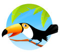 Cute toucan bird sitting on a branch colorful cartoon illustration of Stock Photography