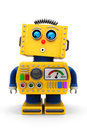 Cute toy robot looking down yellow is surprised onto floor Stock Photography