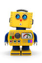 Cute toy robot looking up yellow is surprised in the air Royalty Free Stock Images
