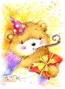 Cute toy teddy bear and Birthday card background.