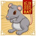 Cute Traditional Chinese Zodiac Animal: Rat, Vector Illustration Royalty Free Stock Photo