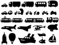 Cute transportation icons set of includes the most common and some rare kinds of vehicles on water air and ground Stock Photography