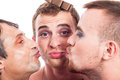 Cute transvestites kissing close up of three isolated on white background Royalty Free Stock Photography