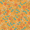 Cute and trendy floral vector pattern with tulips, poppy flowers and berries