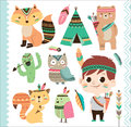 Cute tribal animals and little boy