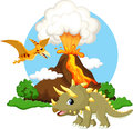 Cute tricaratops and pterodactyl cartoon with volcano background Royalty Free Stock Photo