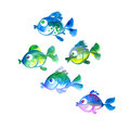 Cute tropical fish  hand drawn illustration Royalty Free Stock Photo