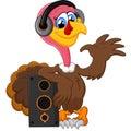 Cute turkey cartoon listen music