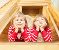 Cute twin girls portrait of Royalty Free Stock Photography