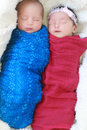 Cute twins sleeping together these are a boy and a girl Royalty Free Stock Photo