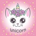 Cute unicorn cat