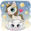 Cute Unicorn a on the Cloud