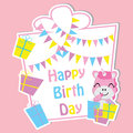 Cute unicorn with colorful gift boxes and flag on frame vector cartoon, Birthday postcard, wallpaper, and greeting card Royalty Free Stock Photo