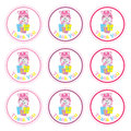 Cute unicorn with gift boxes cartoon, Birthday Label, sticker set