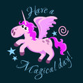 Cute unicorn isolated set, magic pegasus flying with wing and horn on rainbow, fantasy horse vector illustration, myth Royalty Free Stock Photo