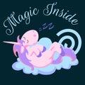 Cute unicorn isolated set, magic pegasus flying with wing and horn on rainbow, fantasy horse vector illustration, myth Royalty Free Stock Photo