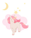 Cute Unicorn, little Pony with pink hair. Lovely graphics for t-shirts, greeting cards.