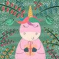 Cute unicorn in the magic forest.
