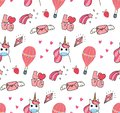 Cute unicorn and other object seamless pattern